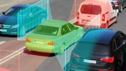 Das Themenbild Car2X zeigt ein Auto und deuteut die Berechnungen eines Bordcomputers an seiner Umwelt durch Flächen an.