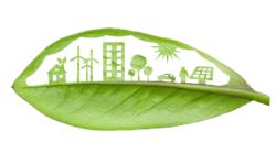 Das Themenbild Nachhaltigkeit zeigt ein gezeichnetes grünes Blatt mit städischen Symbolen.