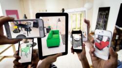 Das Themenbild VR/AR zeigt ein mit Hilfe von AR eingerichtetes Wohnzimmer.
