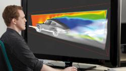 Das Themenbild Simulation und Visualisierung zeigt eine Windkanalsimulation an einem digitalen Automodell.