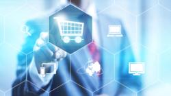 Das Themenbild Digitaler Handel zeigt eine Wabenstruktur mit verschiedenen Einkaufs- und digitalen Standardsymbolen.
