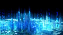 Das Themenbild Smarte Städte zeigt das digitalisierte Modell einer Großstadt.